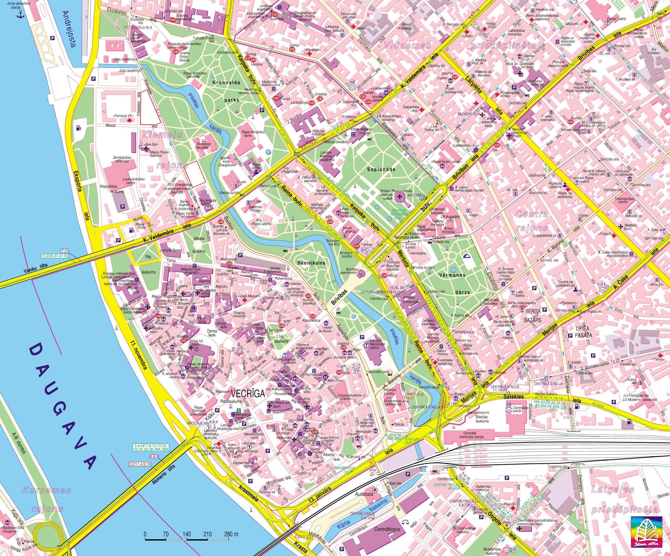 Turistkort Med Diverse Oplysninger